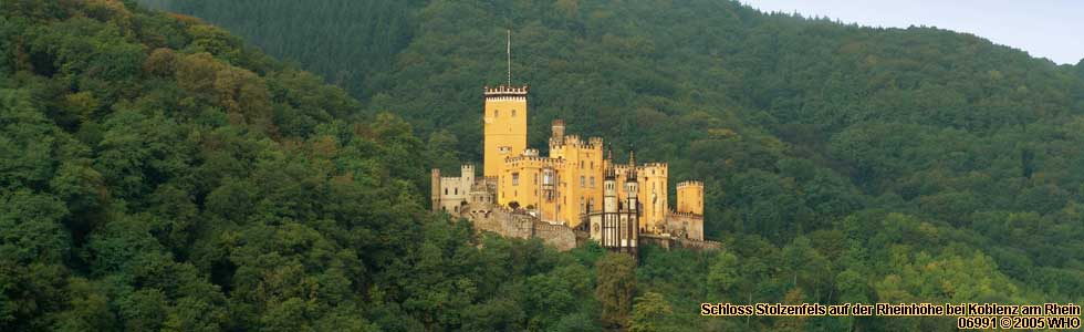 Castle Schloss Stolzenfels on the Rhine River Hills near Coblence on the Rhine River.
